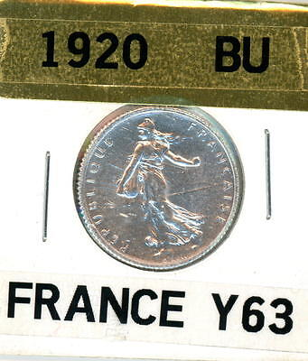 Uncirculated BU 1920 France 1 Franc Silver Foreign Coin