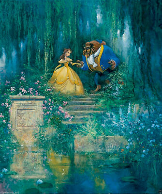 Oil Painting HD Print Art Canvas,Disney beauty and the Beast Drawing Poster Wall