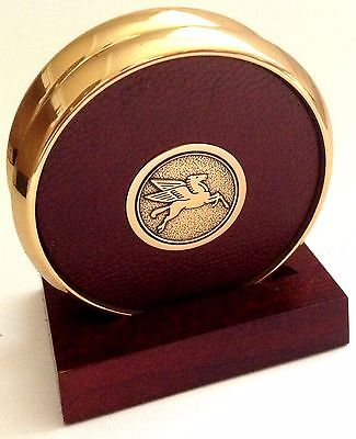 Mobil Oil Pegasus Brass and Leather Coaster Set and Display Original Box