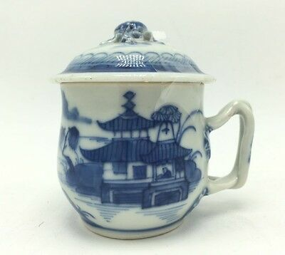 Chinese Export Porcelain Tea Cup Mug 19th Antique Blue and White Nanking