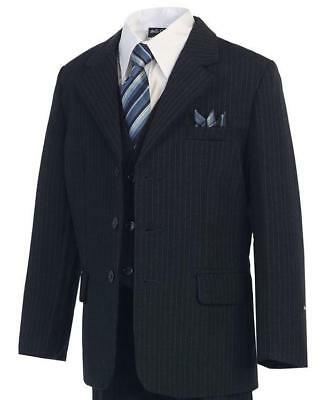 Navy Pinstripe Boys Suit (Sizes 2T - 20) Kids Formal Dress Wear Wedding Recital