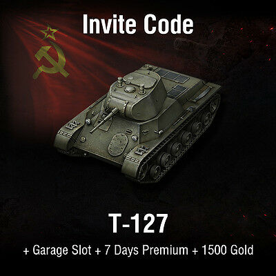World of Tanks | WoT | Invite Code | T-127 + 1500 Gold | PC | EU | NA | RU | SEA