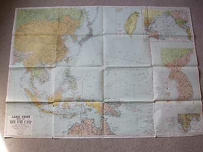 """Vintage And Rare Large Print Far East Map 54"""" By 39"""" By Alexander Gross, F.r.g.s"""