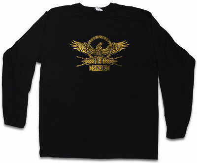ROMAN EAGLE LONG SLEEVE T-SHIRT Rom Ceasar Map Empire Stretch Emperor SPQR