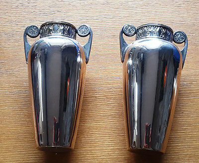 Pair of Edwardian Silver Plated Vases by WMF c1910