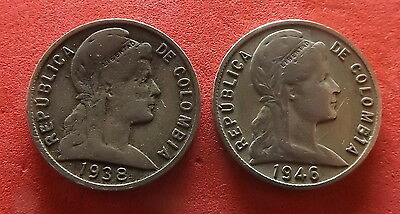 Colombia 5 Centavos 1938 & 1944 (Small Date) - 2 Coins KM# 199 (#094)