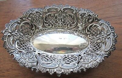 Vintage English Sterling Silver Reticulated Shape Candy Nut Dish Gargoyle design