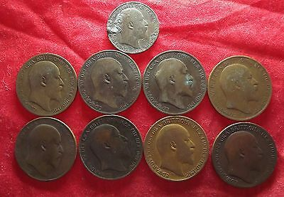 Great Britain - 9 Edward VII Penny and Half Penny Coins 1902 to 1910   (#349)
