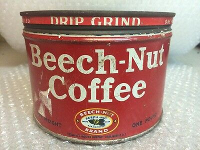 """Vintage BEECH-NUT COFFEE """"STEELY"""" Advertising Tin Canajohaire, NY"""