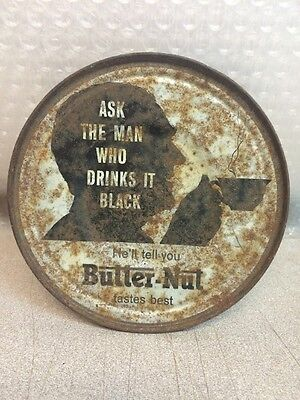 """Vintage BUTTER-NUT COFFEE """"STEELY"""" Advertising Tin--LID ONLY! LOOK"""
