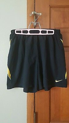 Nike Black and Yellow Adult Soccer/Athletic Shorts. Size L