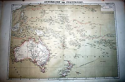 AUSTRALIA, OCEANIA, NEW ZEALAND, large engravede map by Brockhaus, 1860-1870`