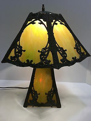 ANTIQUE VICTORIAN SLAG STAINED GLASS LAMP & LAMP SHADE 3 Way