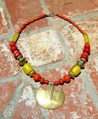 Red Coral Amber Resin & Brass Necklace Tribal Boho Belly Dance Nepal Free Ship