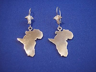 African Continent Earrings Solid Sterling Silver Made In Egypt