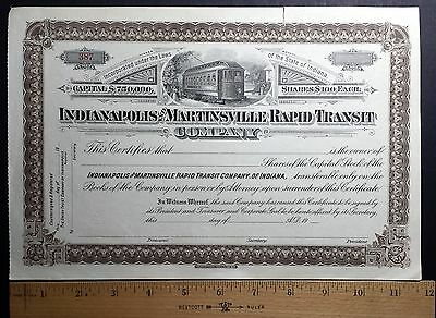 1900's Indianapolis and Martinsville Company stock certificate! Un-issued