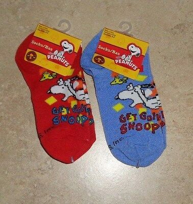 2 New Pairs of Peanuts Snoopy & Woodstock Ankle Socks Kid's size 6-8