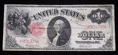 1917 $1 Dollar Legal Tender Paper Note  Circulated