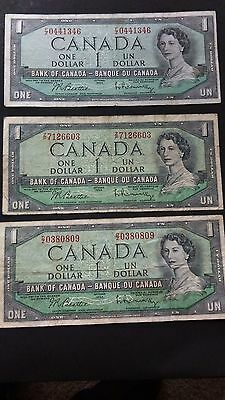 Lot of 3 Canada One Dollar Banknote(Ottawa,1954)( Circulated/Nice images/intact)