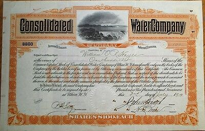 'Consolidated Water Company of Utica, NY' 1919 Stock Certificate w/Waterfall