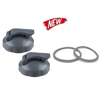 2 x Nutribullet Flip-Top Go-To-Lid with 2x Gasket fits 600/900w Cups and Mugs UK