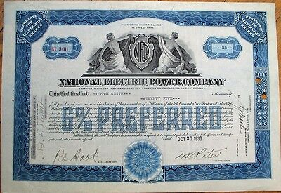 'National Electric Power Company' 1930 Stock Certificate - Utility - Blue