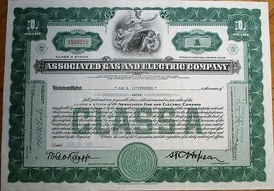 Associated Gas & Electric Company 1930 Stock Certificate - Green