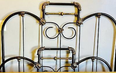 """Victorian  1890 - 1905 FANCY CAST IRON BRASS & """" PEWTER """" FULL SIZE BED ANTIQUE"""