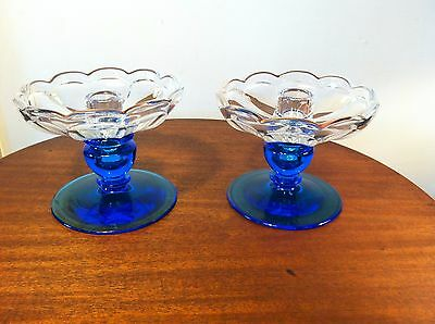Antique Pair of Electric Blue Heisey Glass 2-Piece Candle Holders
