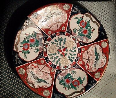 """Vintage Imari Collectible Platter  Charger  Japanese 12""""   Hand Painted"""