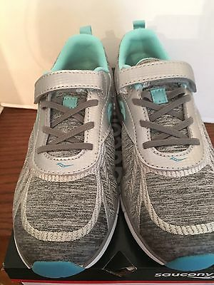 NEW SAUCONY kids Velocity AC GIRL'S SNEAKER SHOES size 2.5 Turquoise/Silver