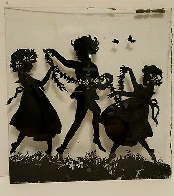 "VINTAGE REVERSE SILHOUETTE GLASS ONLY of CHILDREN PLAYING 10"" X 9.5"""