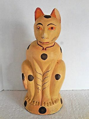 "Vintage Large Hand Carved Wooden Asian Cat Statue 17""H ""One Piece of Wood"""