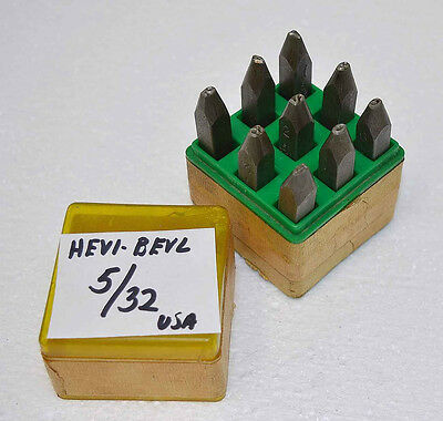 "Vtg MECCO HEVI-BEVL 5/32"" Numbers 0-9 Metal Stamp Die Set 9 pc Steel Made in USA"