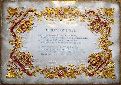 Victorian 1880 Greeting Card: 'A Heart That's True' Poem