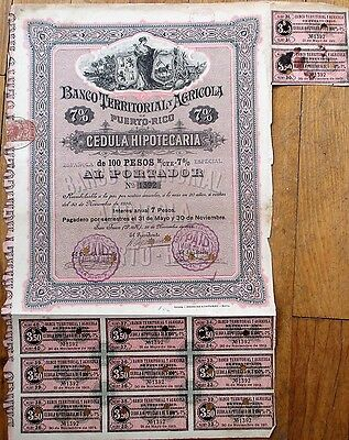 Puerto Rico Bank/Agriculture 1895 Stock/Bond Certificate: Banco Territorial Ag.