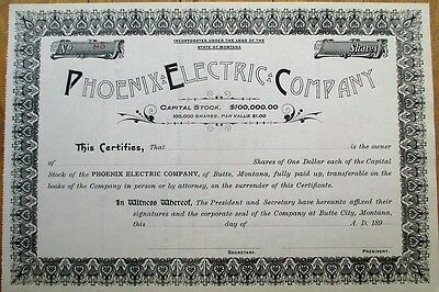 Butte, Montana 1890 Stock Certificate: 'Phoenix Electric Company' - MT
