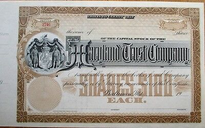 'Maryland Trust Company' 1900 Bank Stock Certificate - MD