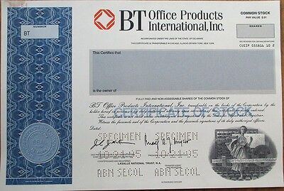 Early Computer Vignette 'BT Office Products Inter.' SPECIMEN Stock Certificate
