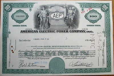 American Electric Power Company, Inc. 1970 Stock Certificate - AEP