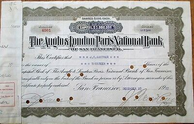 'Anglo London & Paris National Bank of San Francisco' 1927 Stock Certificate- CA