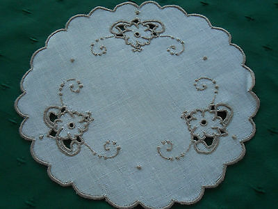 Round White Linen Doily With Beige Open Work Hand Embroidery, Circa1920