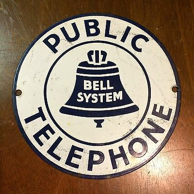 "Vintage BELL SYSTEM Public Telephone Telegraph Porcelain Sign 7"" Salvaged"