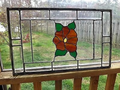 Antique Vintage Leaded Stained Glass Window Floral Bevels Clear Transom Salvage