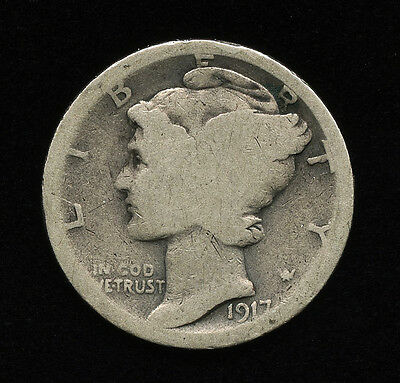 1917-S 10c US WINGED LIBERTY HEAD MERCURY DIME SILVER TEN CENTS TYPE COIN