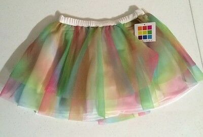 NWT Girls Tutu Rainbow Colored Size 4T Ballet Dance Pageant Tulle Healthtex