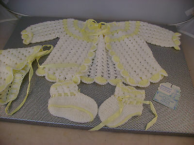 New Vintage Baby Gift Set~Yellow White Knitted Jacket, Cap, Booties in Box