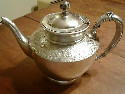 Antique early SILVER PLATE TEA POT BY REED BARTON 3030 etched birds flowers