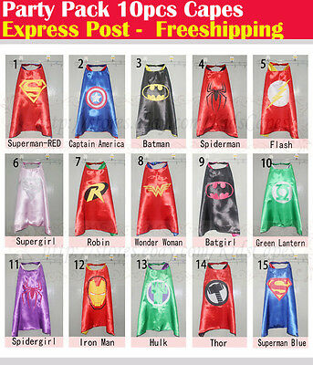 Party Pack - 10pcs superhero capes for kids Birthday party supplies (Only Capes)