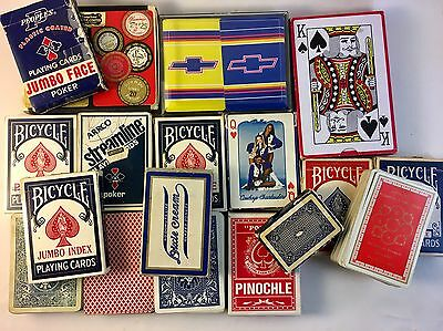 Lot Of 18 Vintage Playing Card Decks Bicycle Arrco Chevy Cowboy Cheerleaders